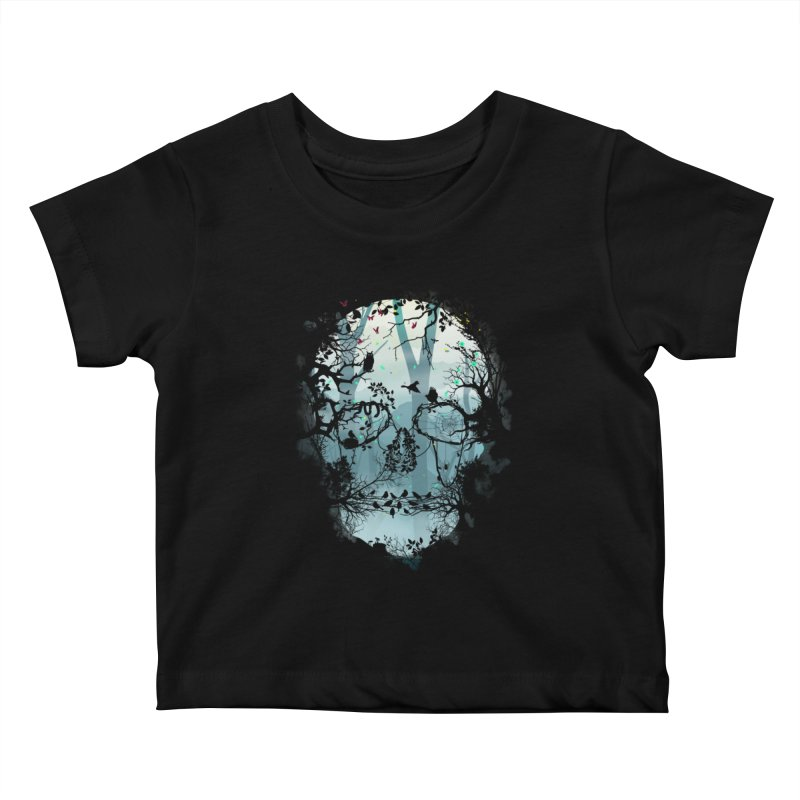 Dark Forest Skull Kids Baby T-Shirt by Sitchko