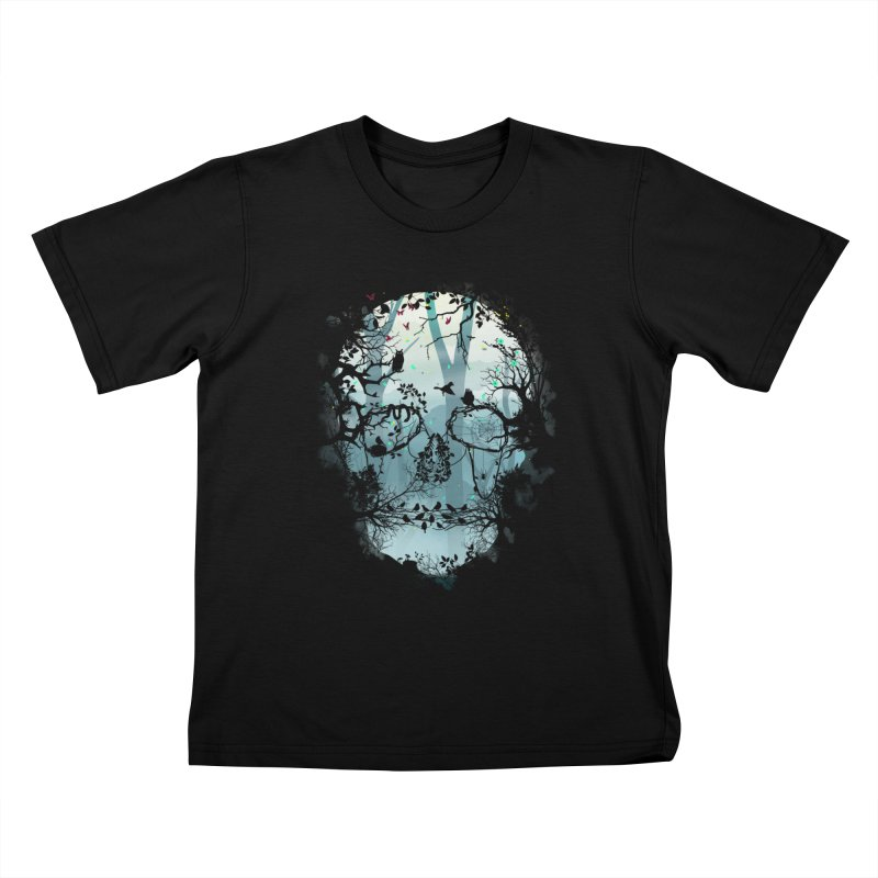 Dark Forest Skull Kids T-Shirt by Sitchko