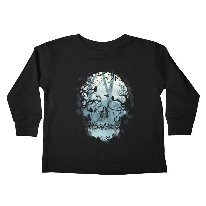 Dark Forest Skull Kids Toddler Longsleeve T-Shirt by Sitchko