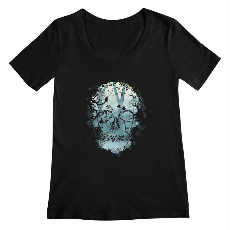 Dark Forest Skull Women's Scoopneck by Sitchko