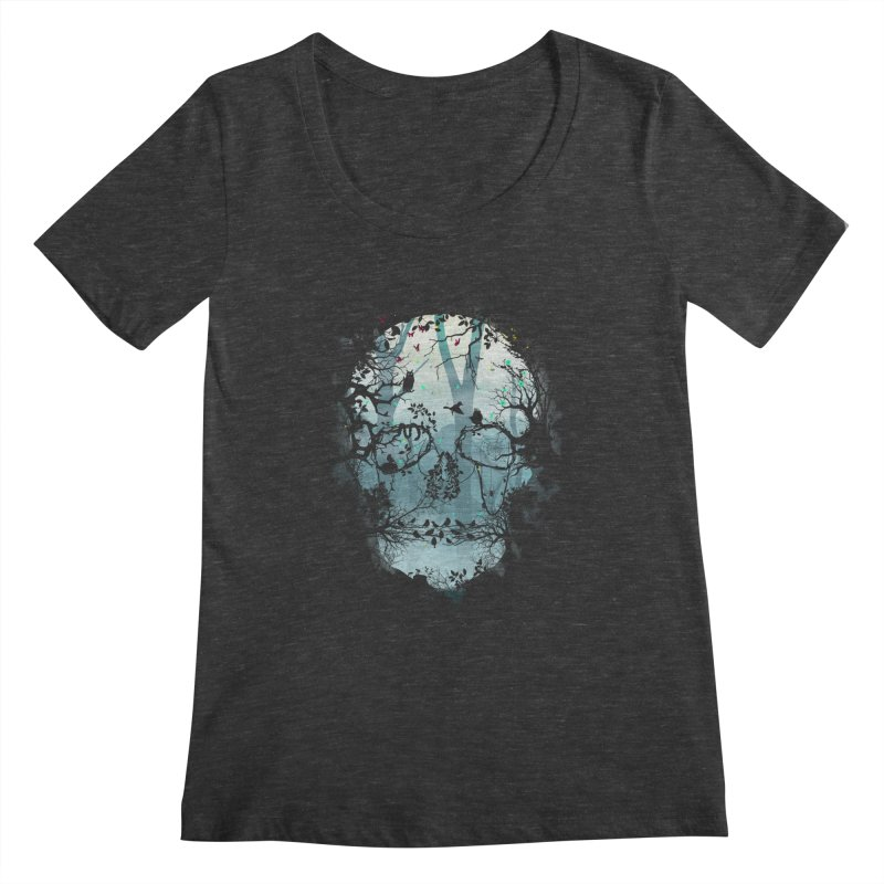 Dark Forest Skull Women's Scoopneck by Sitchko