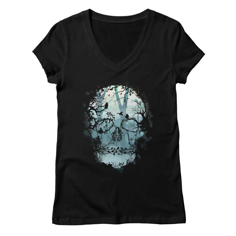 Dark Forest Skull Women's V-Neck by Sitchko