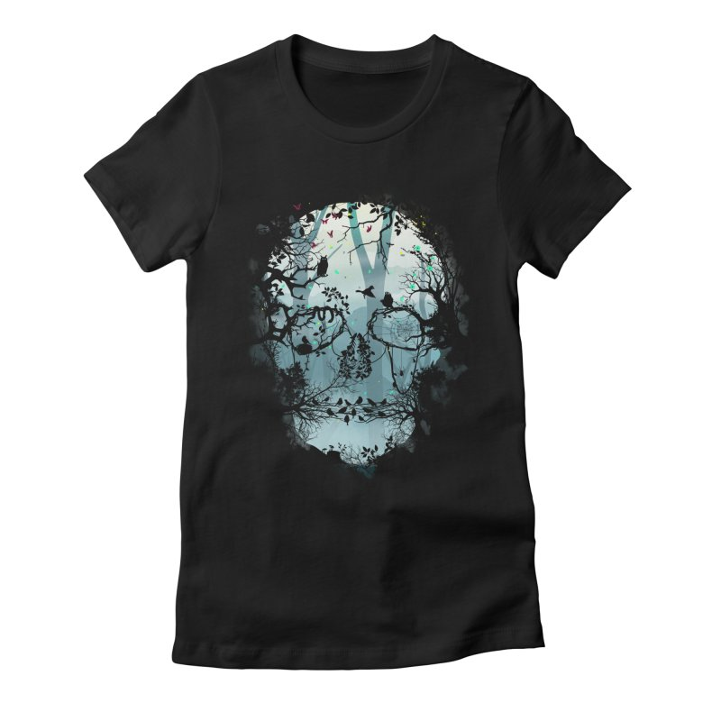 Dark Forest Skull Women's Fitted T-Shirt by Sitchko