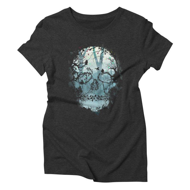 Dark Forest Skull Women's Triblend T-shirt by Sitchko