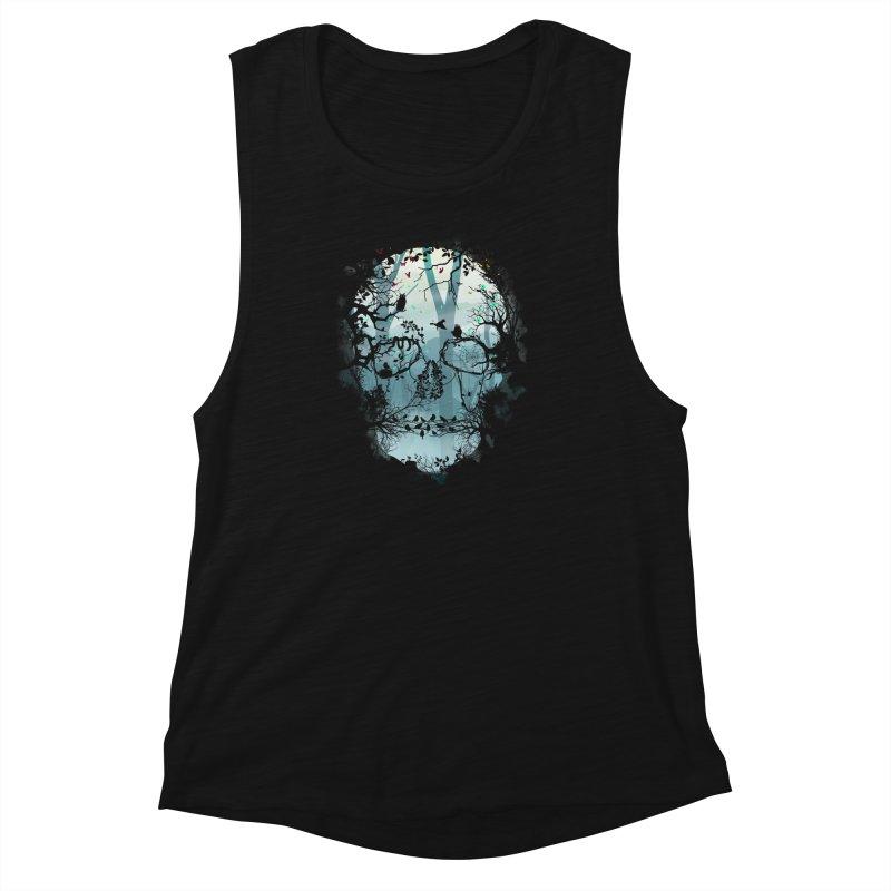 Dark Forest Skull Women's Muscle Tank by Sitchko