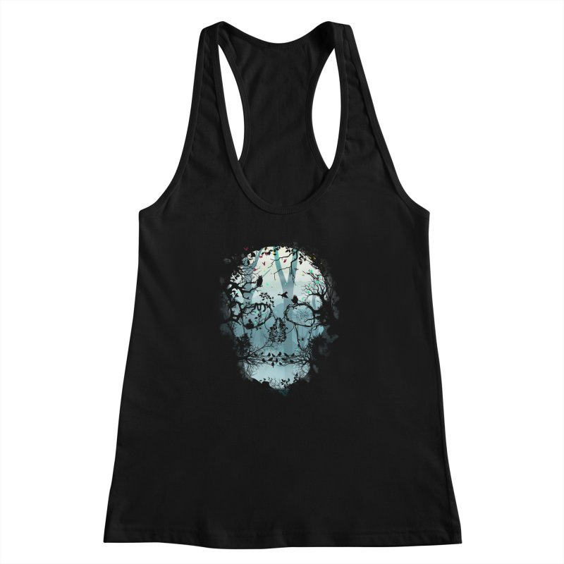 Dark Forest Skull Women's Racerback Tank by Sitchko