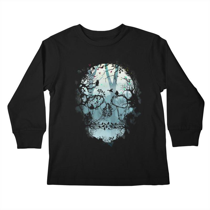 Dark Forest Skull Kids Longsleeve T-Shirt by Sitchko