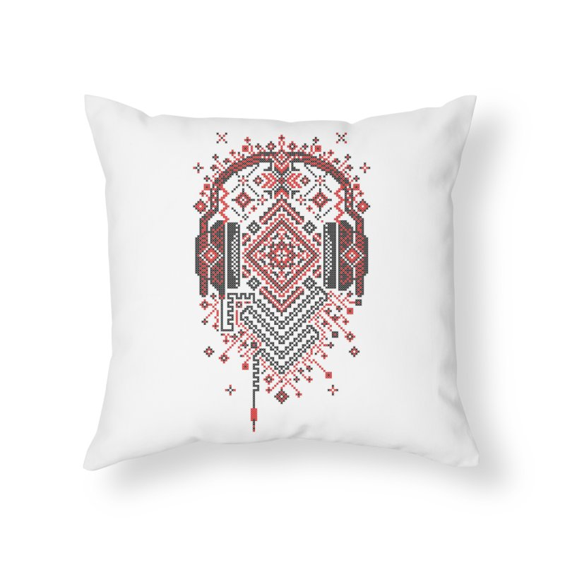 Headphones Ornament Home Throw Pillow by Sitchko