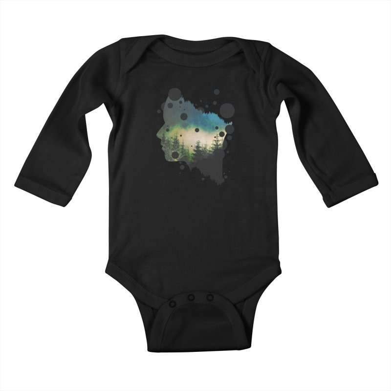 Face Of the Forest Kids Baby Longsleeve Bodysuit by Sitchko