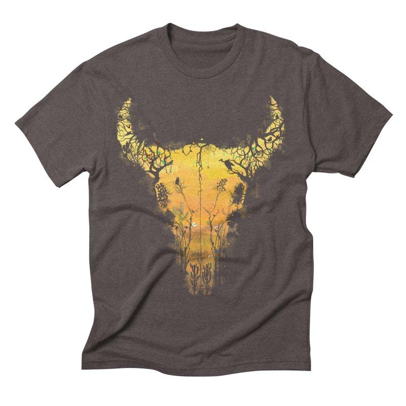 Dark Desert Cow Skull Men's Triblend T-Shirt by Sitchko