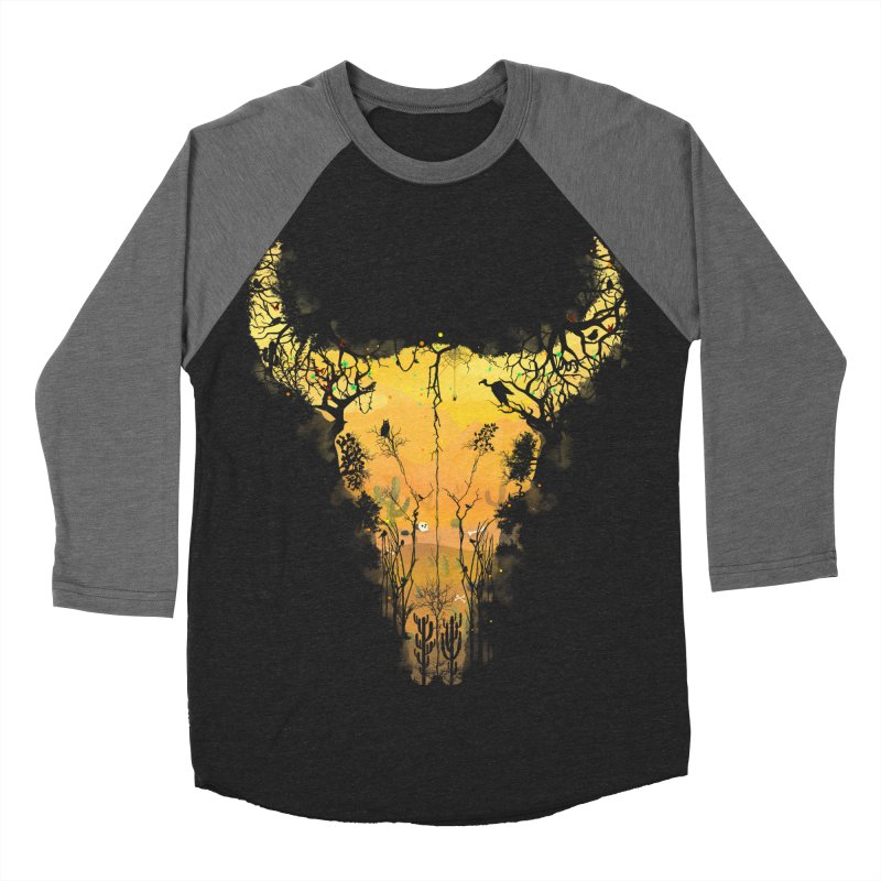 Dark Desert Cow Skull Men's Baseball Triblend T-Shirt by Sitchko