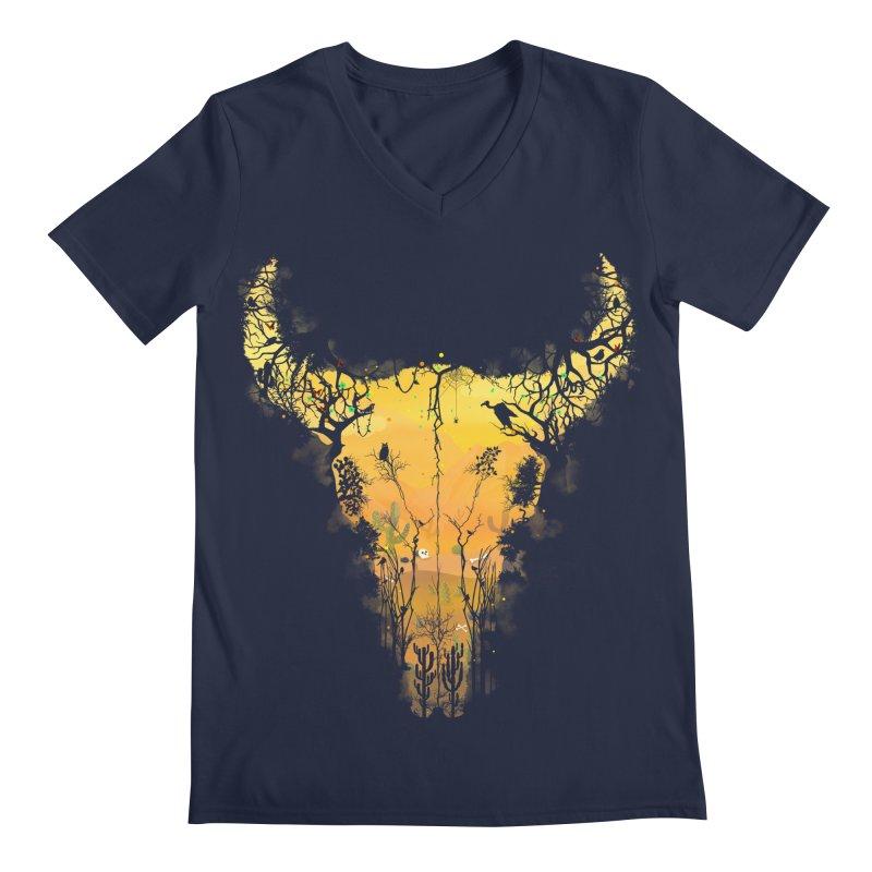 Dark Desert Cow Skull Men's V-Neck by Sitchko