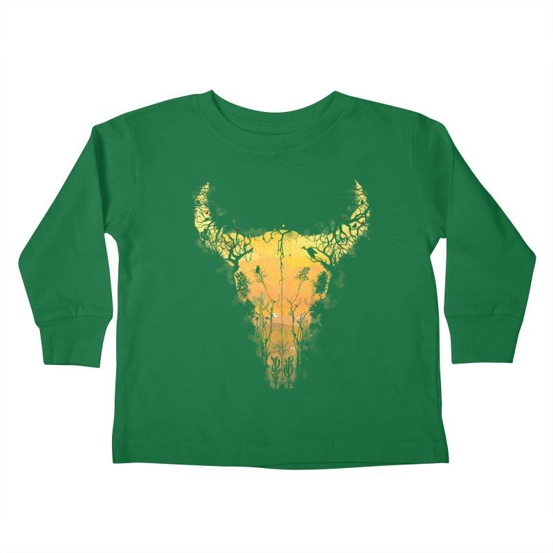 Dark Desert Cow Skull Kids Toddler Longsleeve T-Shirt by Sitchko