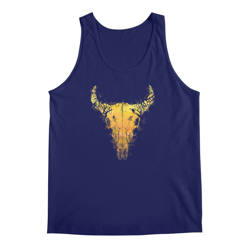 Dark Desert Cow Skull Men's Tank by Sitchko