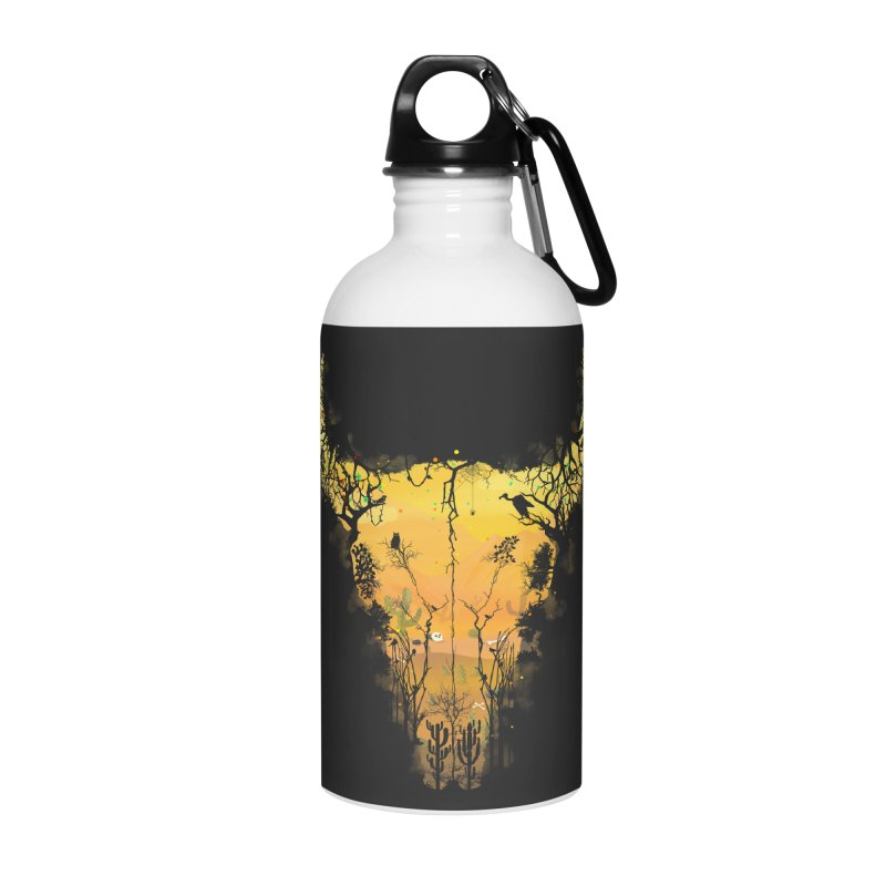 Dark Desert Cow Skull Accessories Water Bottle by Sitchko