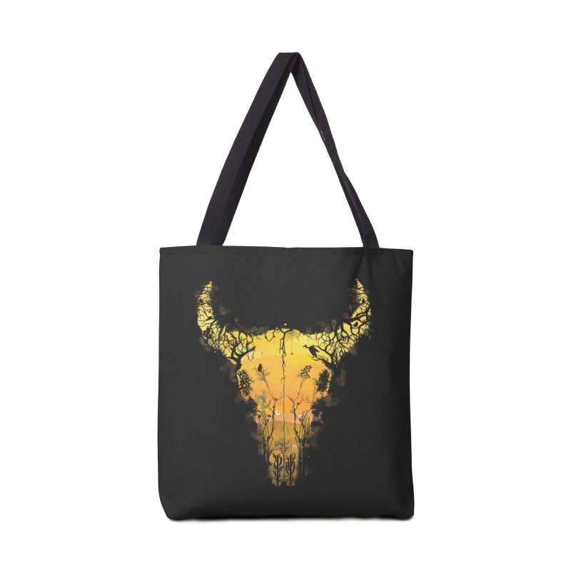 Dark Desert Cow Skull Accessories Bag by Sitchko