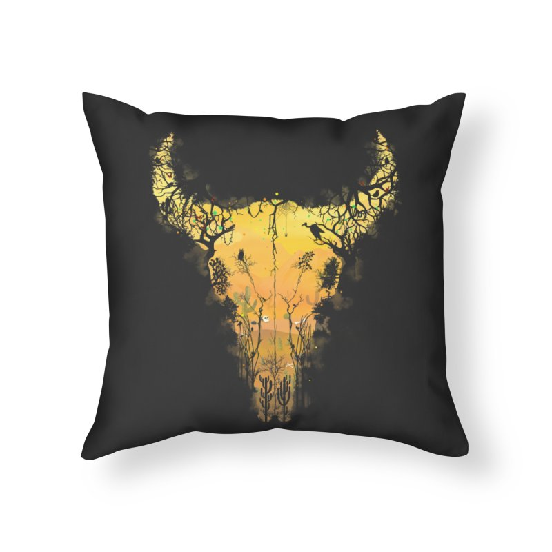 Dark Desert Cow Skull Home Throw Pillow by Sitchko