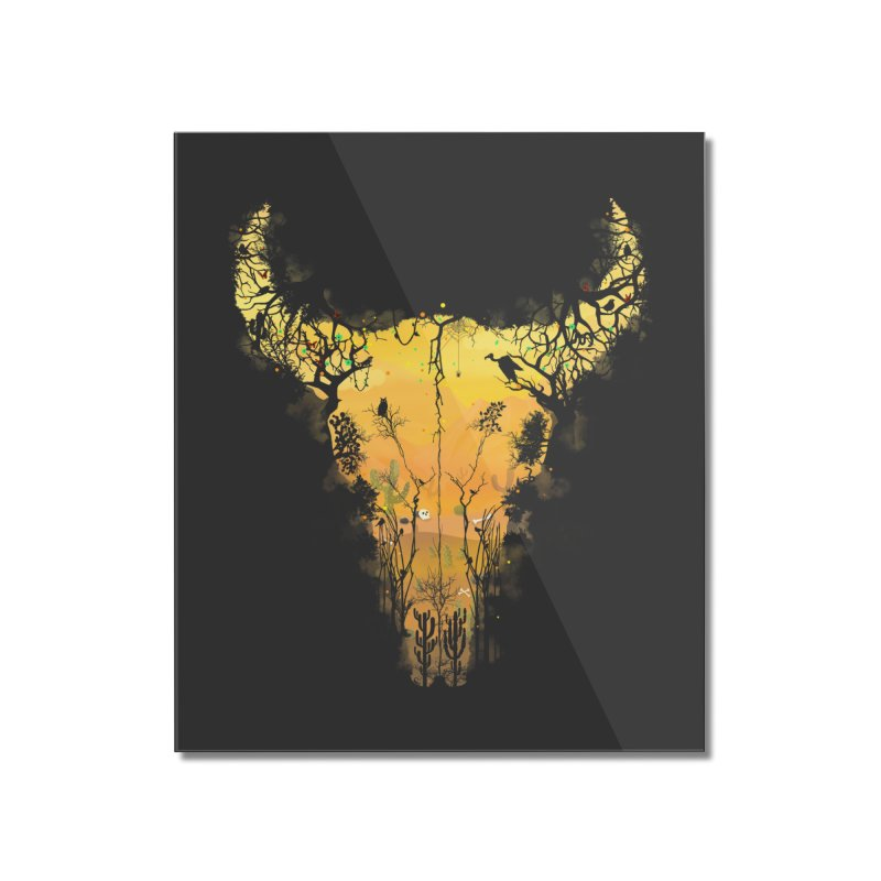 Dark Desert Cow Skull Home Mounted Acrylic Print by Sitchko
