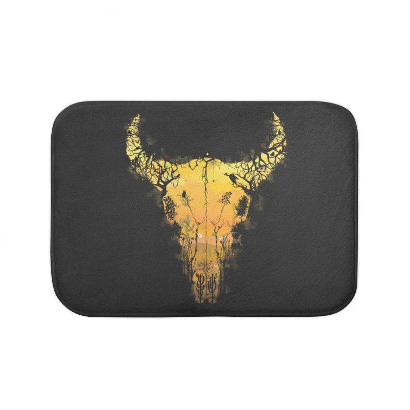 Dark Desert Cow Skull Home Bath Mat by Sitchko