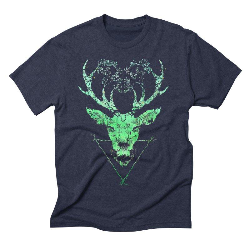 Dark Forest Deer Men's Triblend T-Shirt by Sitchko