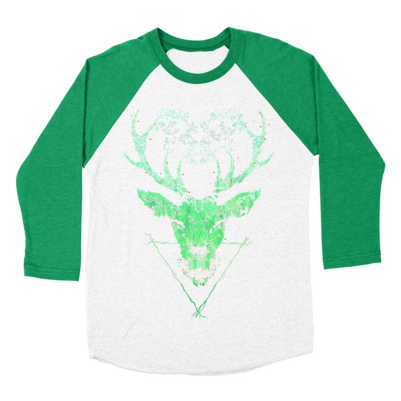 Dark Forest Deer Women's Baseball Triblend T-Shirt by Sitchko