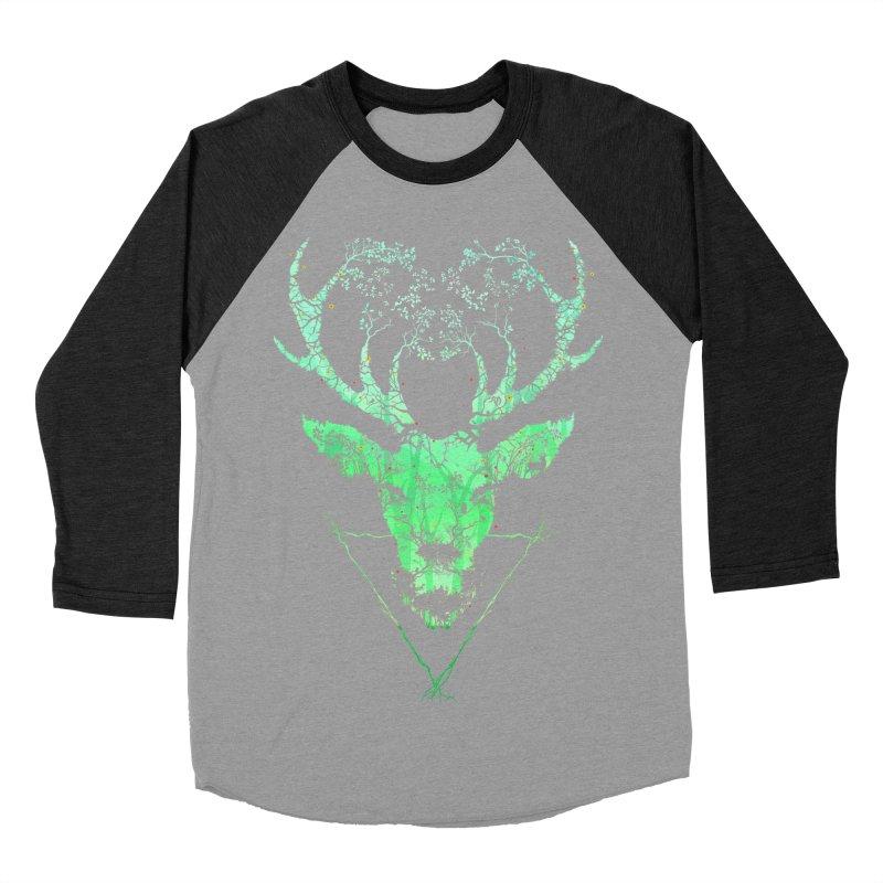 Dark Forest Deer Men's Baseball Triblend T-Shirt by Sitchko