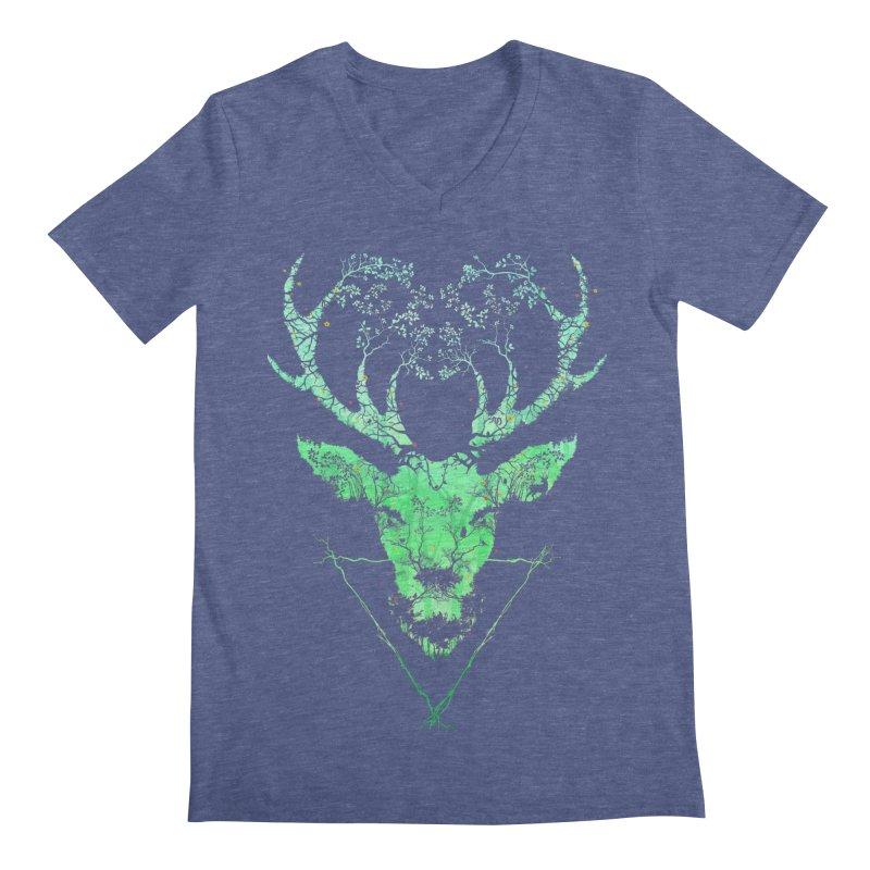 Dark Forest Deer Men's V-Neck by Sitchko