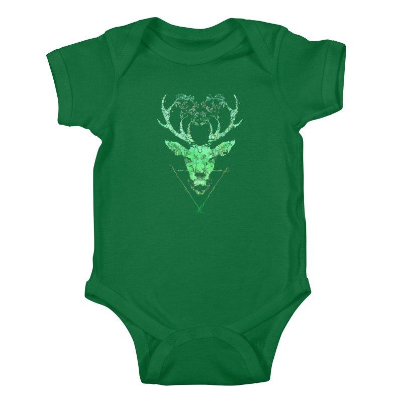 Dark Forest Deer Kids Baby Bodysuit by Sitchko