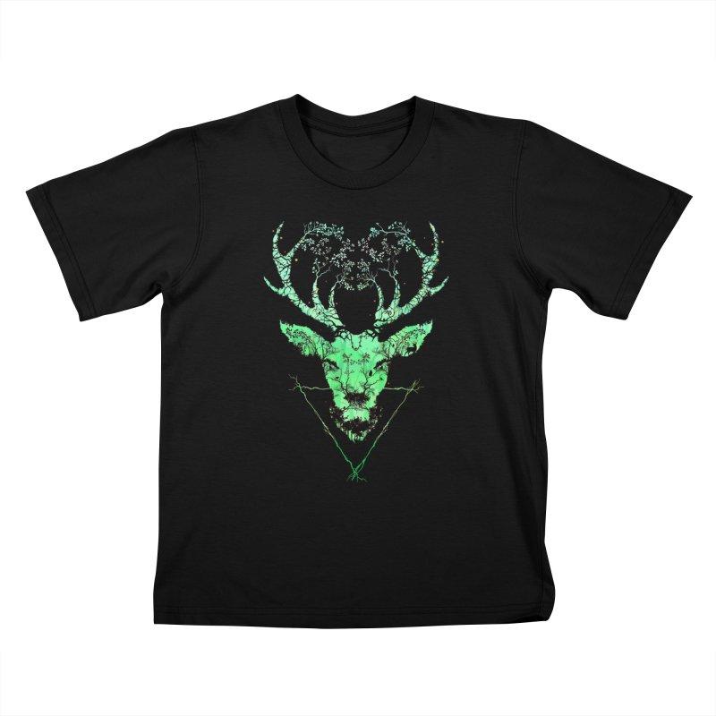 Dark Forest Deer Kids T-Shirt by Sitchko