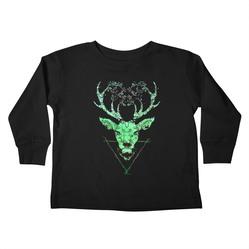 Dark Forest Deer Kids Toddler Longsleeve T-Shirt by Sitchko