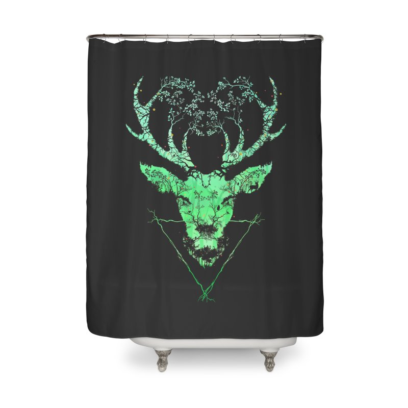 Dark Forest Deer Home Shower Curtain by Sitchko