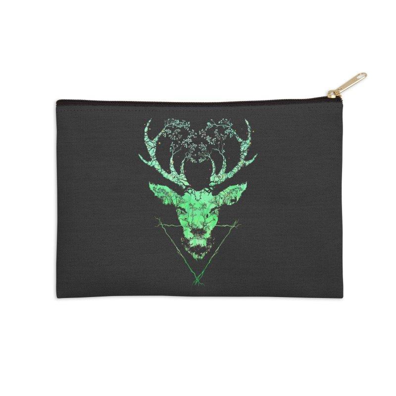 Dark Forest Deer Accessories Zip Pouch by Sitchko