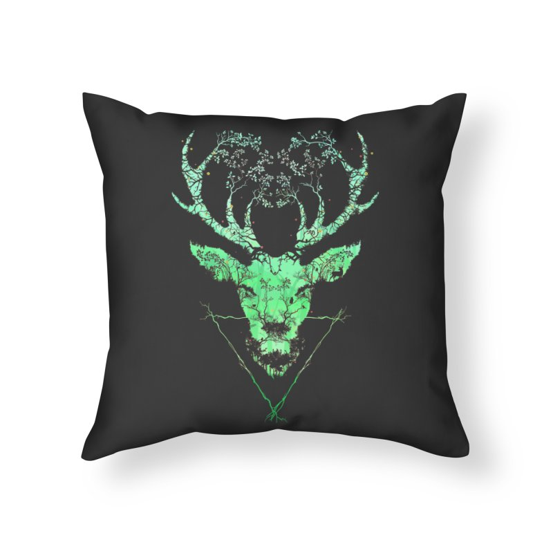 Dark Forest Deer Home Throw Pillow by Sitchko