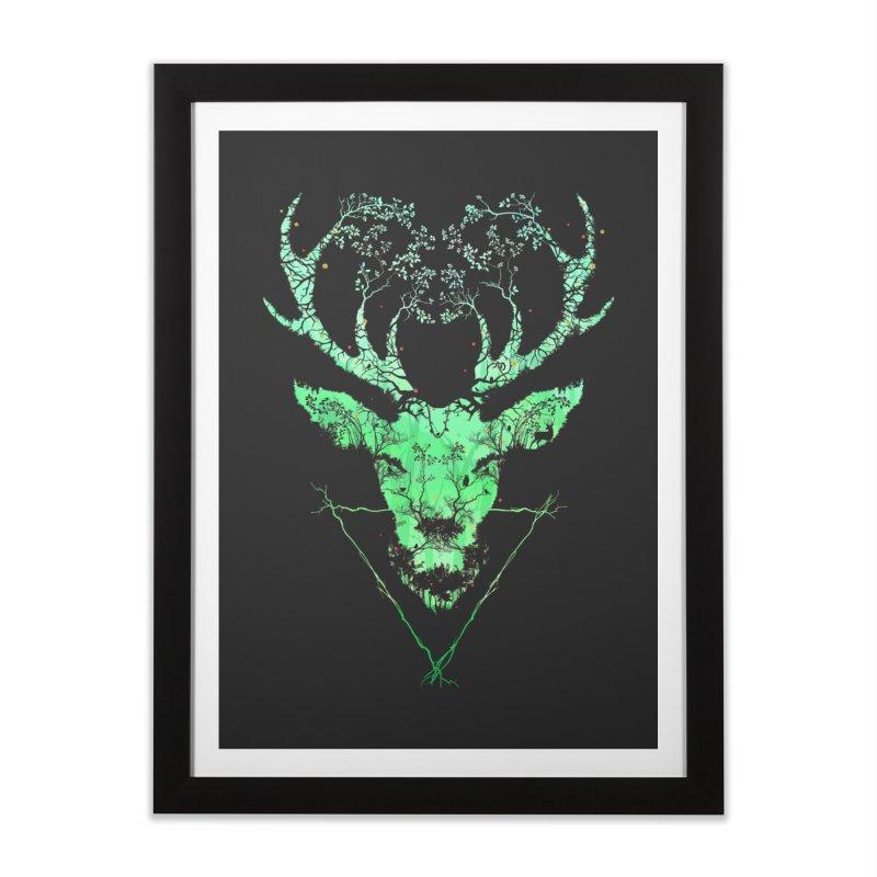 Dark Forest Deer Home Framed Fine Art Print by Sitchko