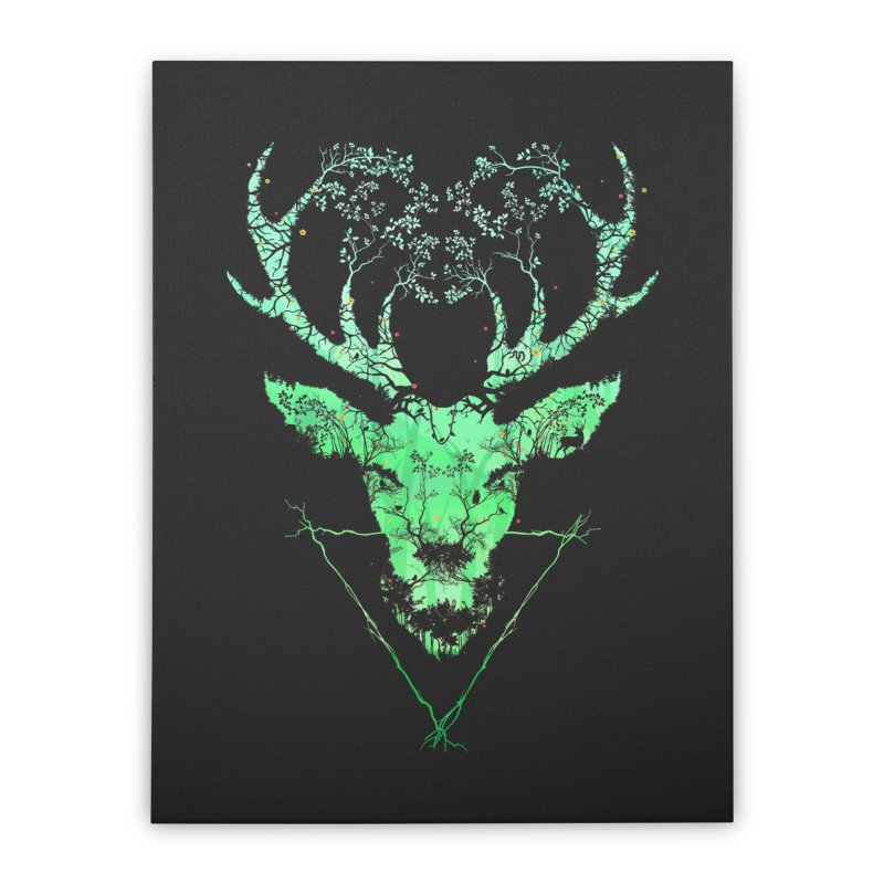 Dark Forest Deer Home Stretched Canvas by Sitchko