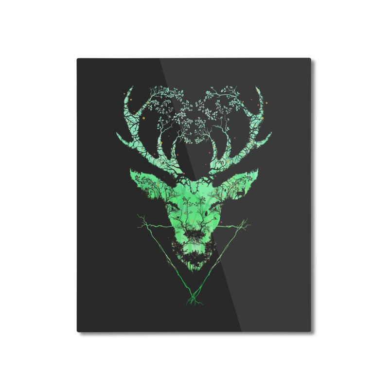 Dark Forest Deer Home Mounted Aluminum Print by Sitchko