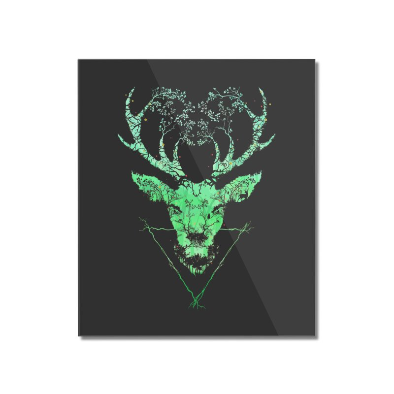 Dark Forest Deer Home Mounted Acrylic Print by Sitchko