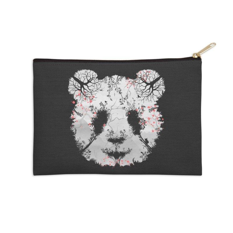 Dark Forest Panda Accessories Zip Pouch by Sitchko