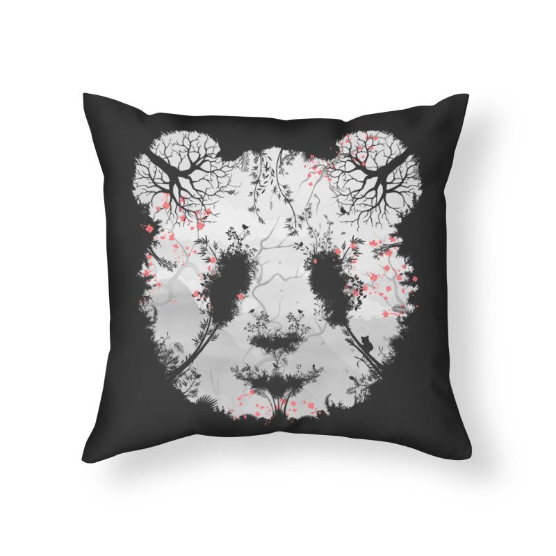 Dark Forest Panda Home Throw Pillow by Sitchko