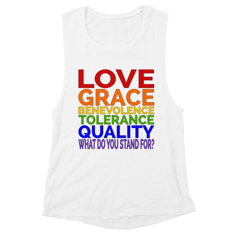 What Do You Stand For? Women's Muscle Tank by Sixfold Symmetry Shop