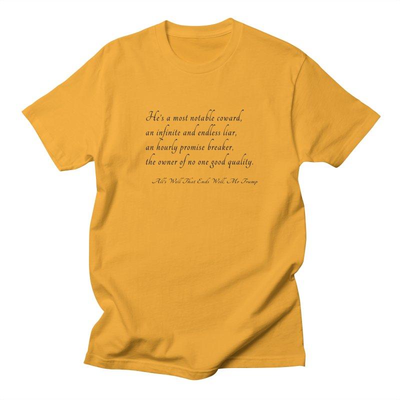 Shakespeare Saw Trump Coming Women's Regular Unisex T-Shirt by Sixfold Symmetry Shop