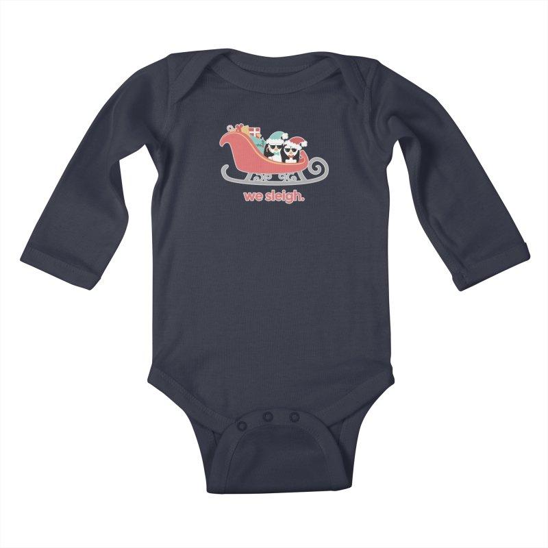 We Sleigh. Kids Baby Longsleeve Bodysuit by Calobee Doodles