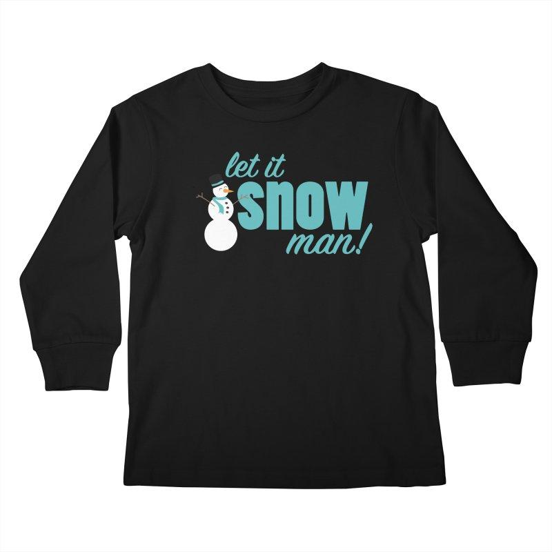 Let it Snow, Man! Kids Longsleeve T-Shirt by Calobee Doodles