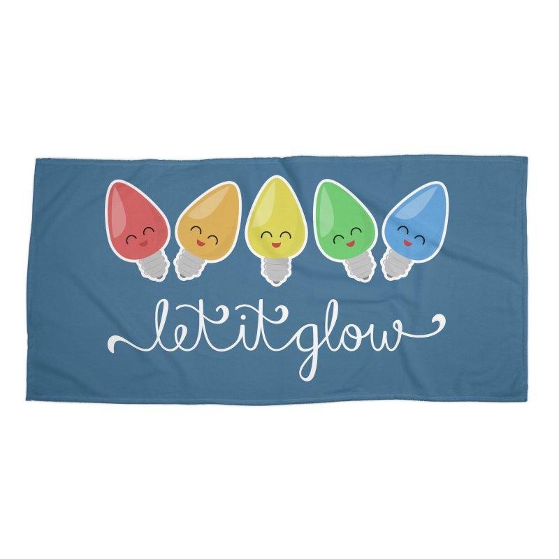 Let It Glow Accessories Beach Towel by Calobee Doodles