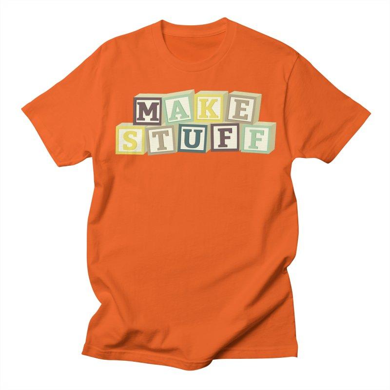 Make Stuff - Brown Men's T-Shirt by Calobee Doodles