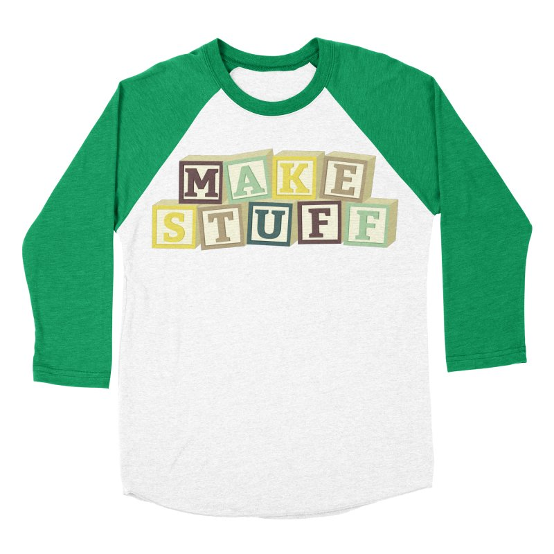 Make Stuff - Brown Men's Baseball Triblend T-Shirt by Calobee Doodles