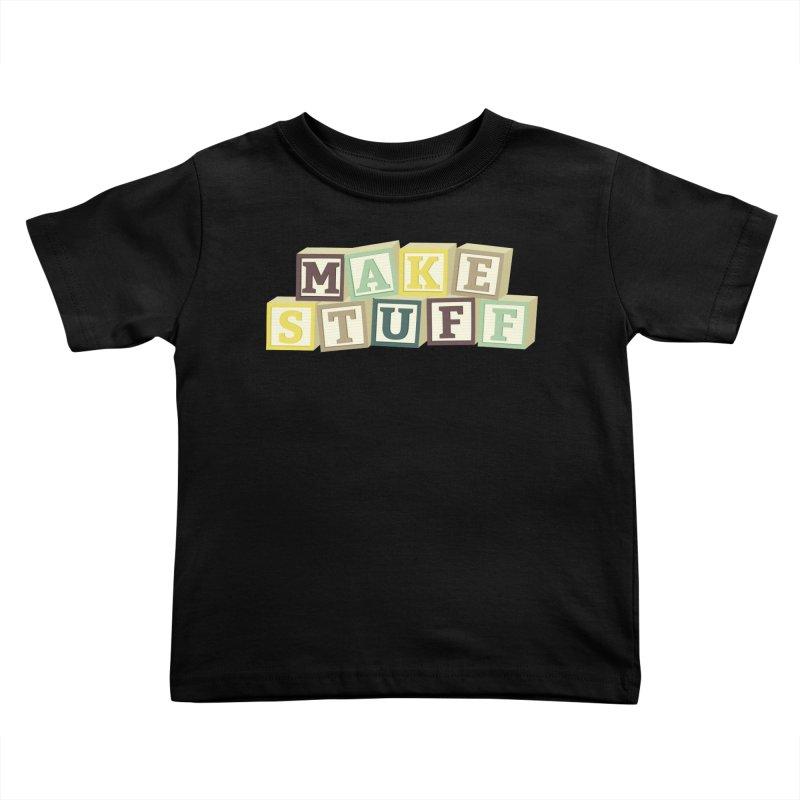 Make Stuff - Brown Kids Toddler T-Shirt by Calobee Doodles