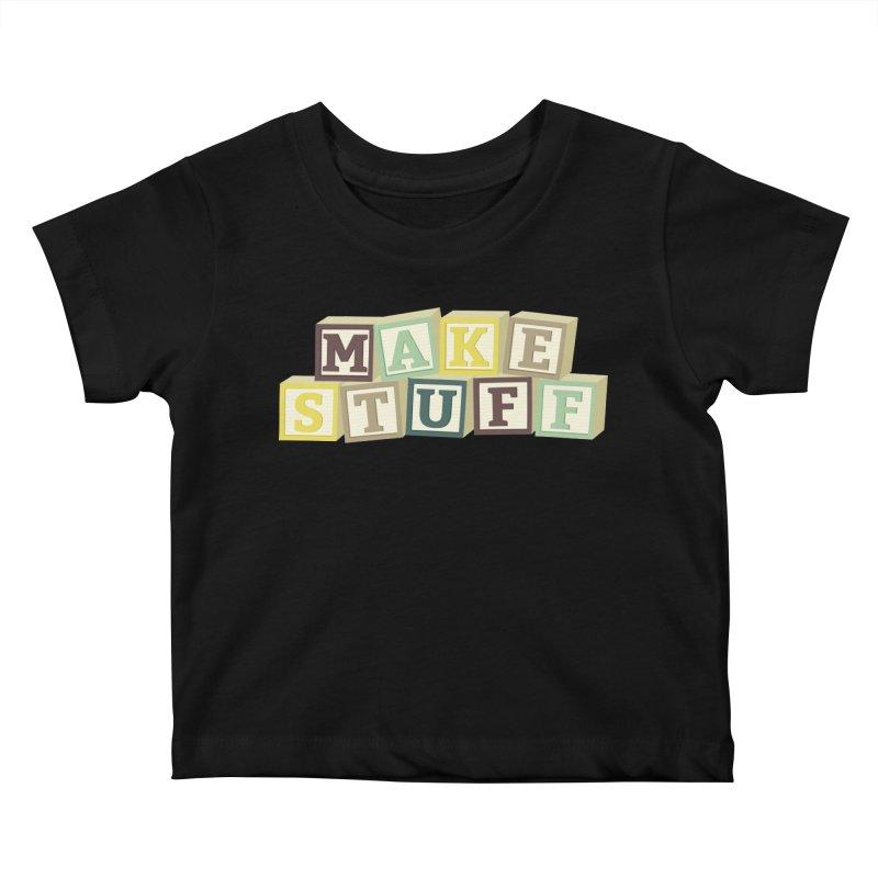 Make Stuff - Brown Kids Baby T-Shirt by Calobee Doodles
