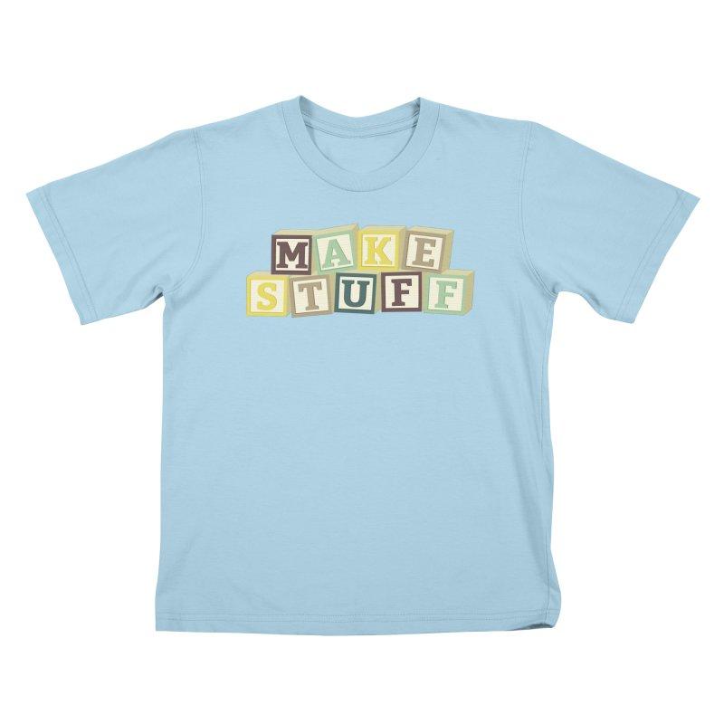 Make Stuff - Brown Kids T-Shirt by Calobee Doodles