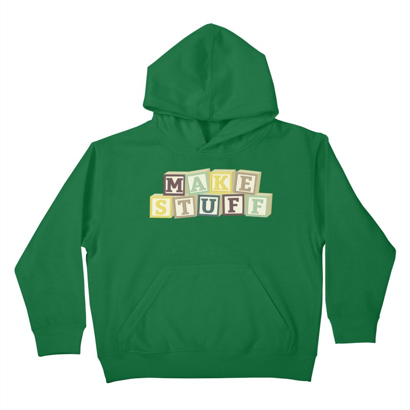 Make Stuff - Brown Kids Pullover Hoody by Calobee Doodles